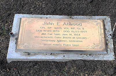 Gravestone of John E. Atwood in Hillside Cemetery