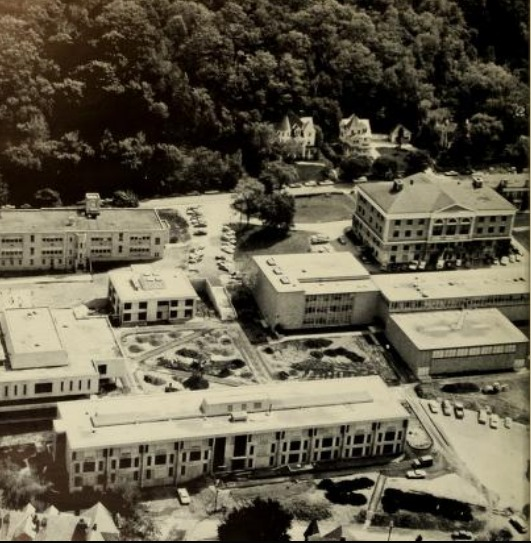 Birdseye View of Bowman Hall, Venable Hall, and the Freel Library Shortly After Their Completion